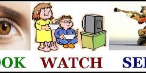 الفرق بين Look at و Watch و  See